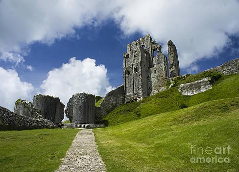 Corfe Castle in Dorset England by Sally Barnett