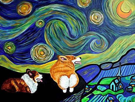 Corgi Starry Starry Night by Karen Howell