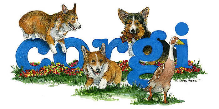 Corgis at play by Terry Albert