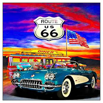 Corvette On Route 66 by Kevin Moore