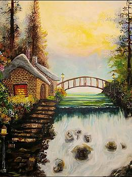Cottage  By The Falls  by Mark DiIorio