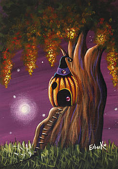 Cottage In The Woods Original Pumpkin Artwork by Shawna Erback