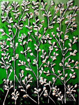 Cotton Flowers with Green Background  by Cynthia Snyder