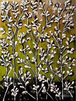 Cotton Flowers with Yellow - Chartreuse Background by Cynthia Snyder