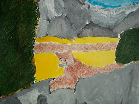 Cougar Mix media On Paper by William Sahir House