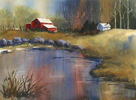 Country Barn and Lake by Barb Capeletti