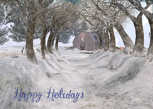 Country Lane in Winter Greeting Card by Kylie Sabra
