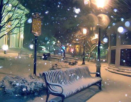 Courthouse Bench in Snow by Mary Vollero