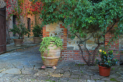 Courtyard at a Brunello Winery in Tuscany by Greg Matchick