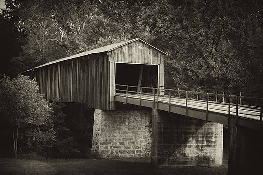 Covered Bridge black and white  by Gerald Adams