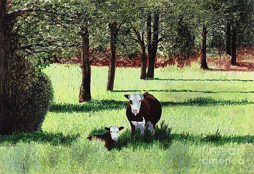 Cow and Calf on North Mountain by Shirley Miller