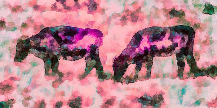 Priya Ghose - Cow Art - Grazing In Profile
