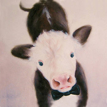 Cow in Tux Painting by Junko Van Norman