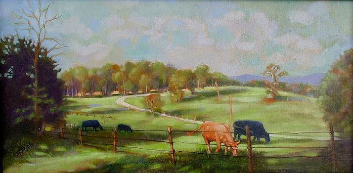 Cow Landscape by Janet McGrath