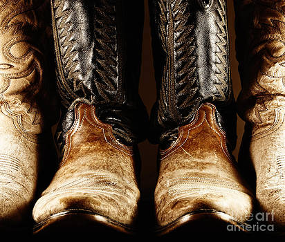 Cowboy Boots in High Contrast Light by Lincoln Rogers