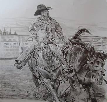 Cowboy Bronc Pickup II by Mellissa Meeks