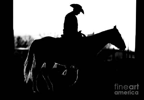 Cowboy Rides Home in Silhouette by Lincoln Rogers