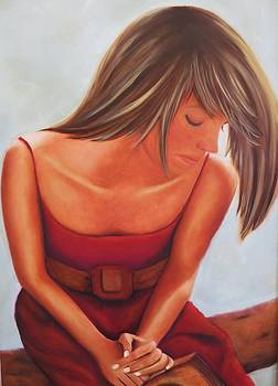 Cowgirl in a red dress by Barbie Baughman
