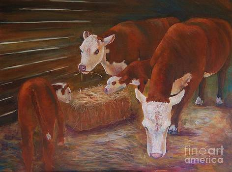 Cows in a Stable by Jana Baker