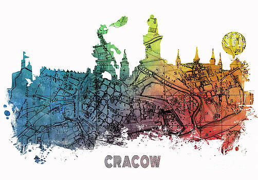 Justyna Jaszke JBJart - Cracow City Skyline Map