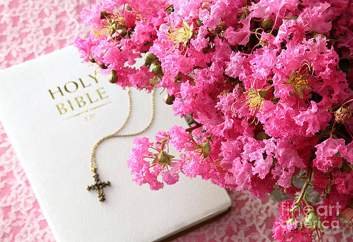 Crape Myrtles and Bible by Pattie Calfy