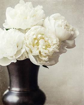 Lisa Russo - Cream Peonies in a Rustic Vase
