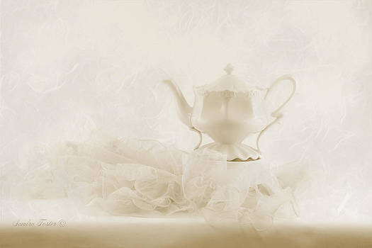 Sandra Foster - Cream Tea Pot And Ruffled Tablecloth - Still Life