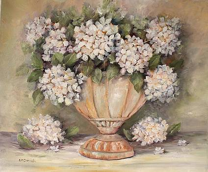 Creamy Hydrangeas in a Rustic Urn by Gail McCormack