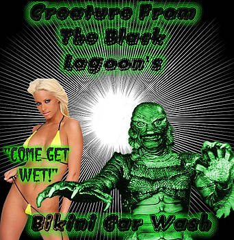Creature From The Black Lagoon's Bikini Car Wash by Ryan Robertson