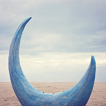 Crescent Moon On Rimini Beach by Angela Bonilla