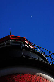 Crescent Moon over Quoddy Head Light by Dana Moos