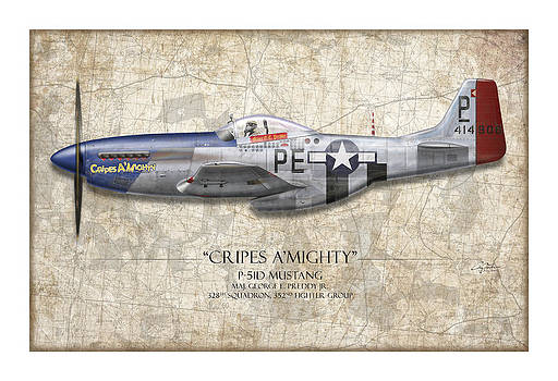Cripes A Mighty P-51 Mustang - Map Background by Craig Tinder