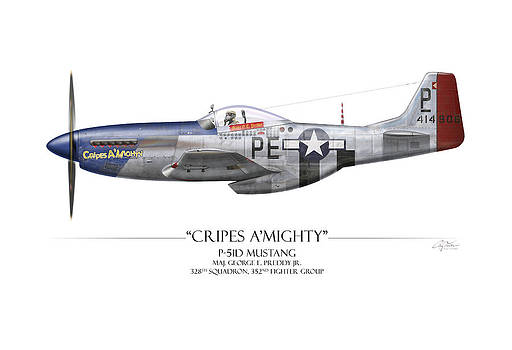 Cripes A Mighty P-51 Mustang - White Background by Craig Tinder