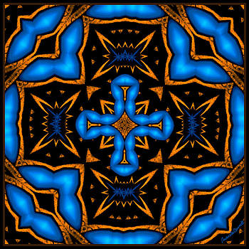 Cross in Neon Blue Baroque Style by Marcela Bennett