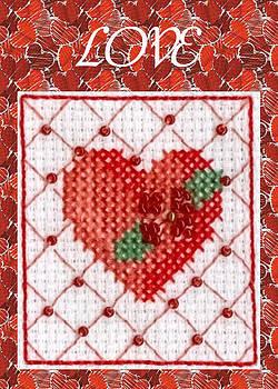 Ruth Soller - Heart Cross-stitch Love card