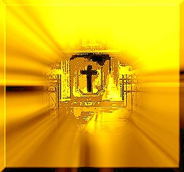 Cross surrounded by Golden Rays by Marian Hebert