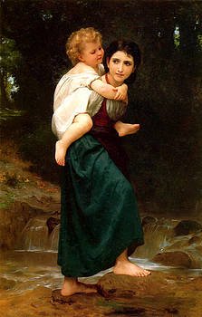 Crossing The Ford by William Adlophe Bouguereau