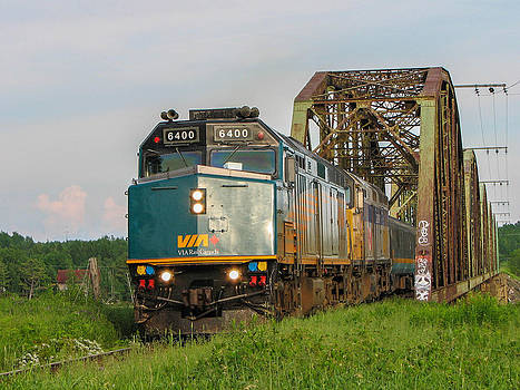 VIA Train Crossing the Miramichi River by Steve Boyko