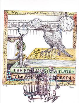 Crow among the books by Kyra Munk Matustik