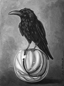 Leah Saulnier The Painting Maniac - Crow On Marble bw