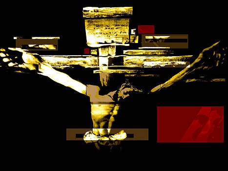Crucifixion in red gold and black by Karine Percheron-Daniels