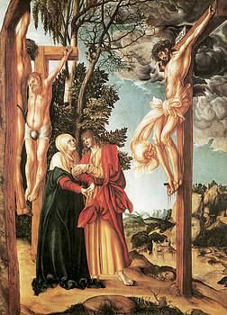 Lucas Cranash the Elder - Crucifixion with the Virgin and St John the Baptist