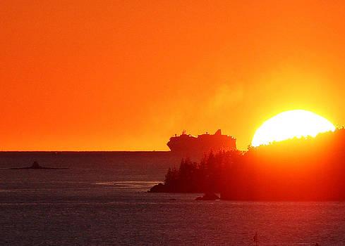 Cruise Ship at Sunrise Heading to Bar Harbor by Dana Moos