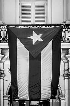 Ian Monk - Cuban Flag Key West - Black and White