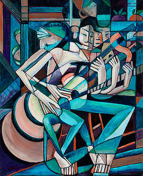Cubist Descending Guitar green orange by Terrie  Rockwell