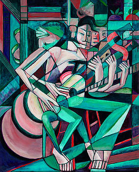 Cubist Descending Guitar green by Terrie  Rockwell
