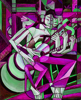 Cubist Descending Guitar purple green by Terrie  Rockwell