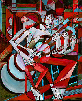 Cubist Descending Guitar red by Terrie  Rockwell