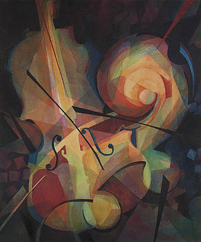 Cubist Play - Abstract Cello by Susanne Clark