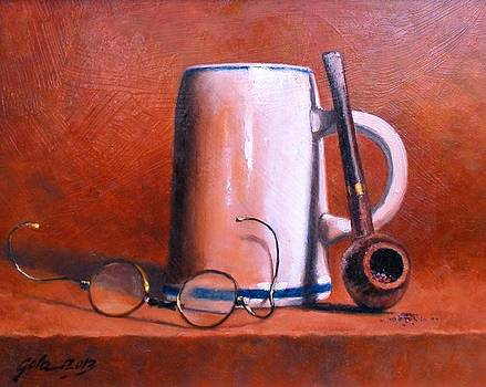 Cup Pipe and Glasses by Jim Gola